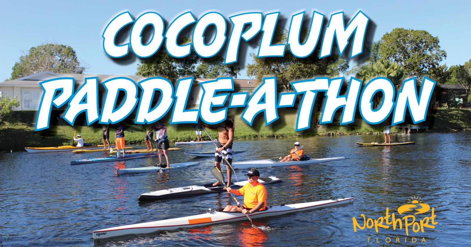 Social media graphic for Cocoplum Paddle-a-thon with photo of people kayaking on blueways in North Port