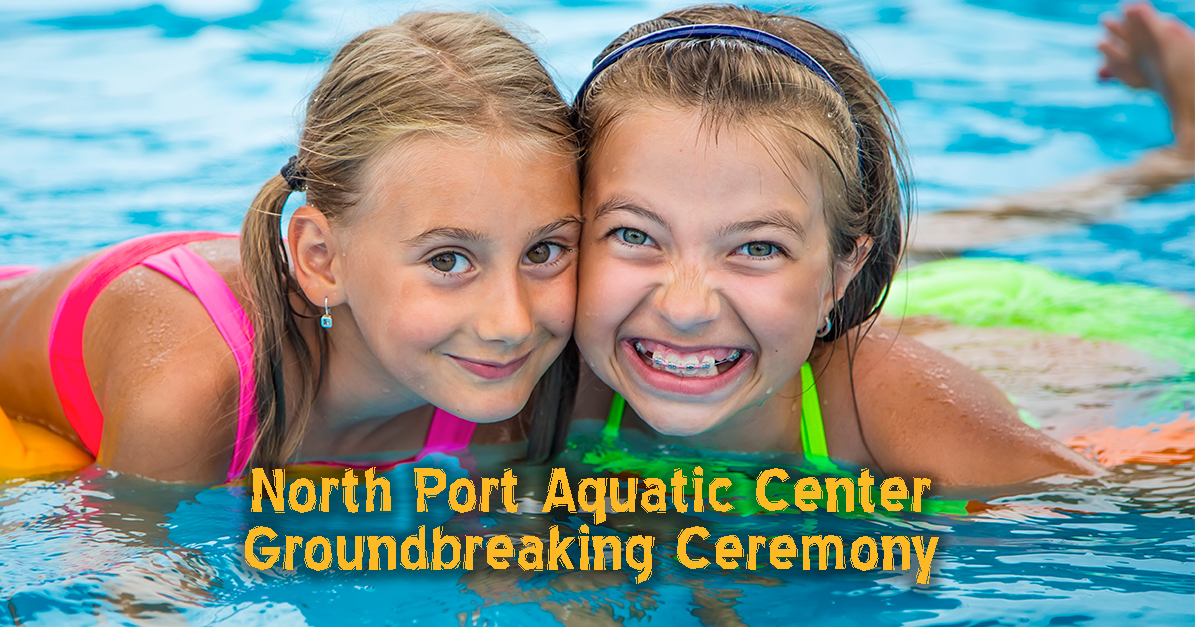 SMGraphic-AquaticCenterGroTwo girls smiling in a pool with the words