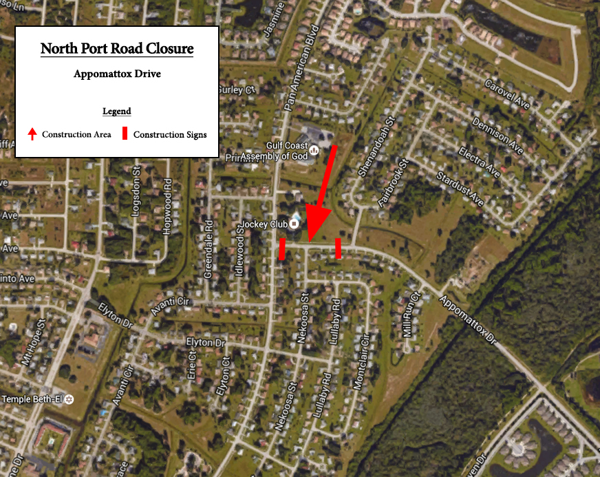 Appomattox Drive, between Pan American Boulevard and Woods Lane, will be closed until further notice