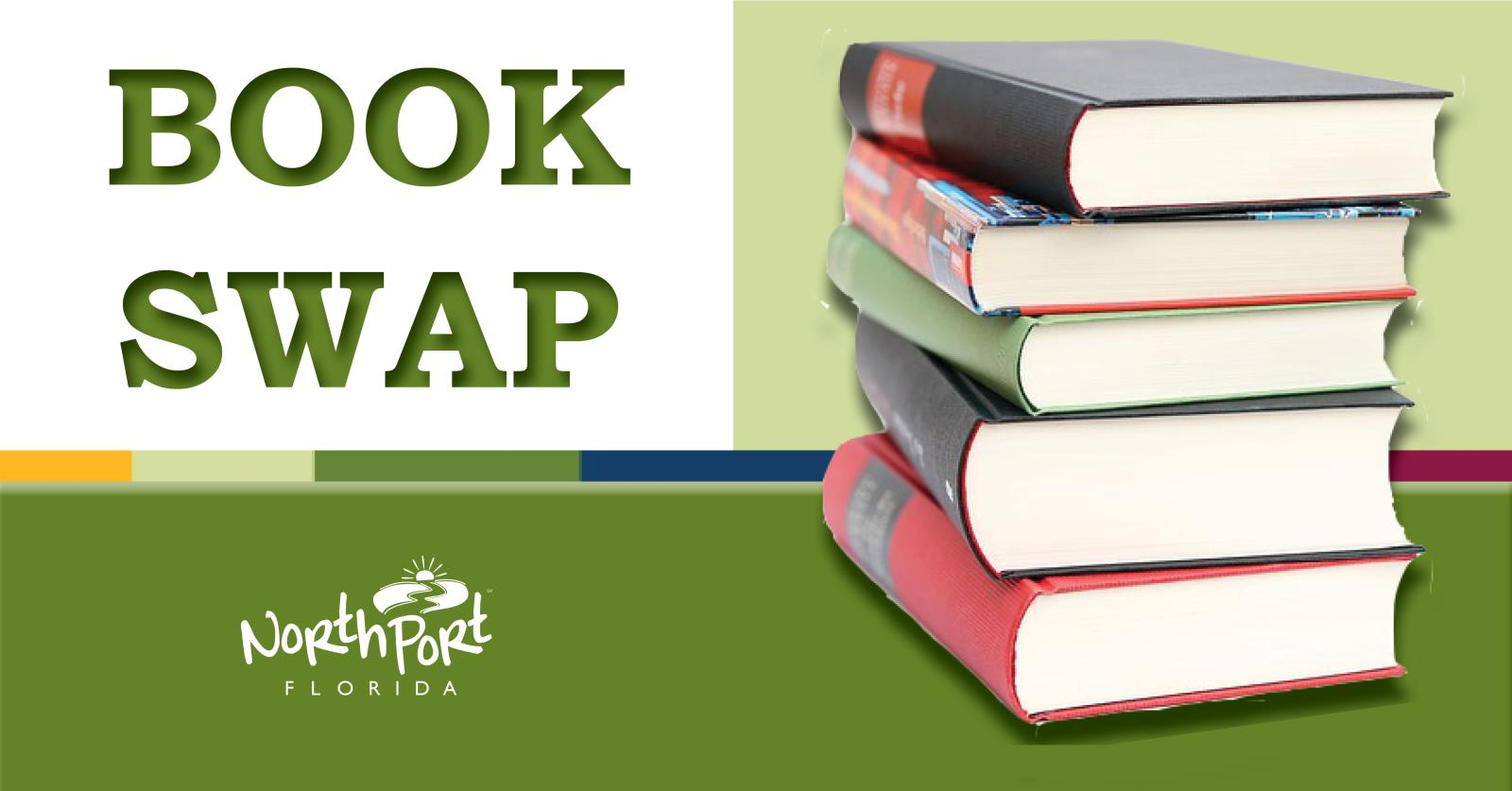 Stack of Books promoting North Port's Book Swap event