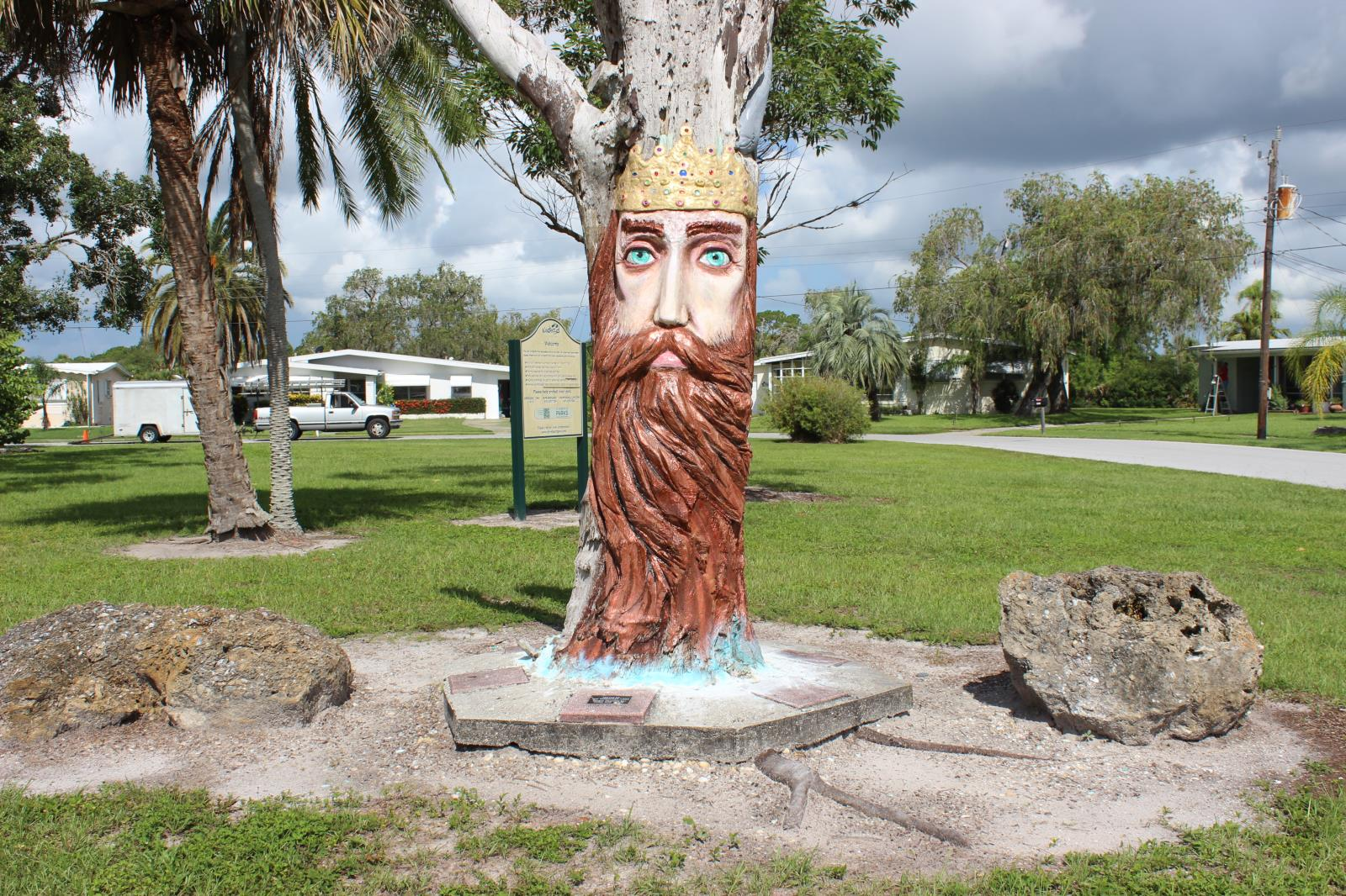 Sculpture of Neptune made from tree trunk