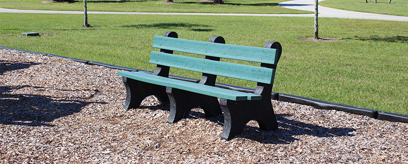 Green Park Bench in the Sun
