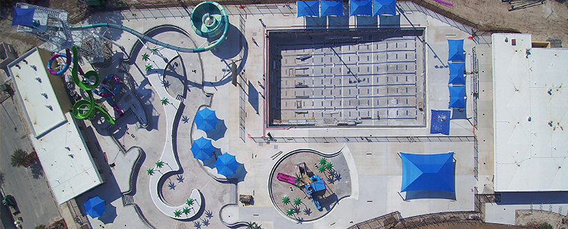 Aerial view of North Port Aquatic Center under construction.