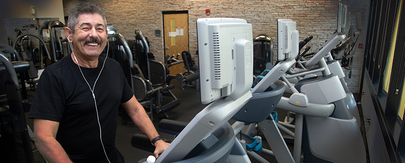 Man working out on Treadmill at the Morgan Family Community Center