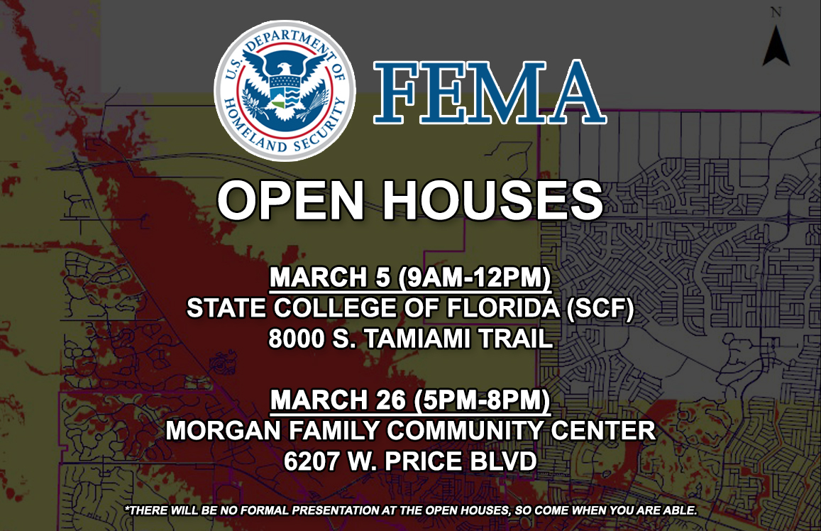 Graphic Advertising FEMA Open Houses scheduled in March 2020 for North Port residents