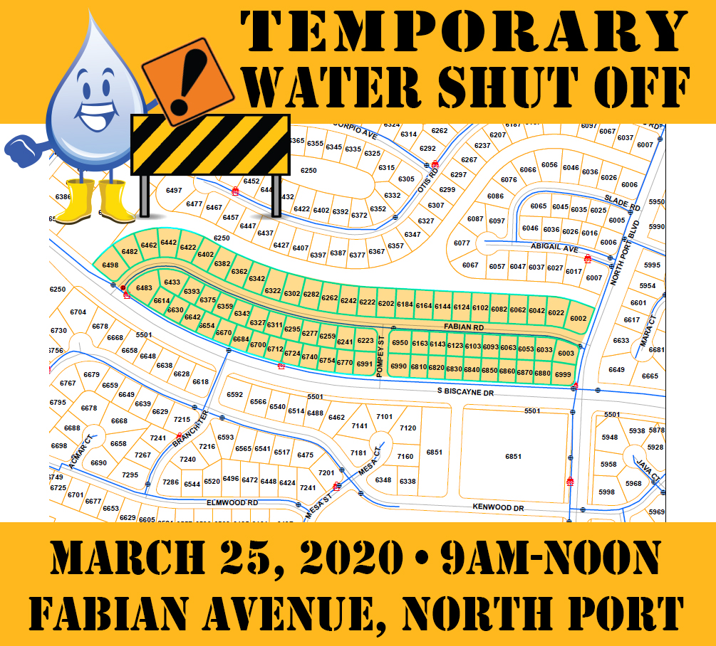Temporary Water Shut Off - Fabian Ave 032520
