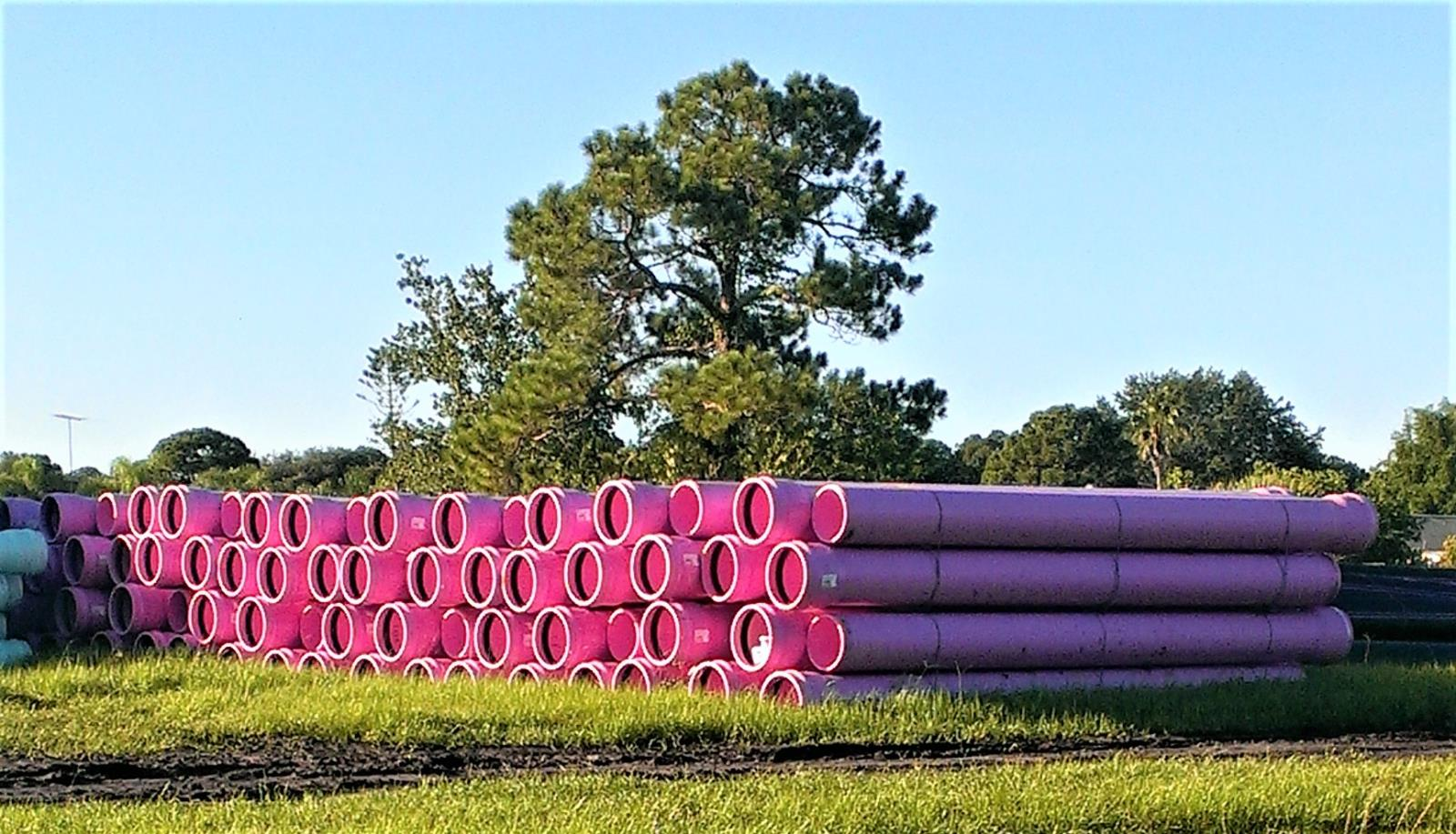 Pile of Purple Reuse Pipes